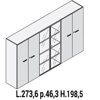 Immagine di IULIO: Mobile contenitore alto a 4 ante e 2 ante vetro con serratura