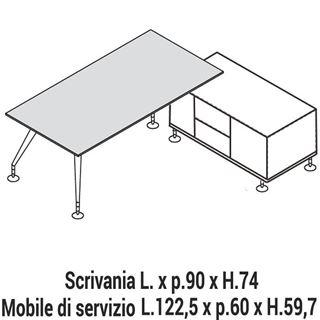 Immagine di Enosi Evo: Composizione Scrivania con Mobile di servizio L.122,5 Dx o Sx