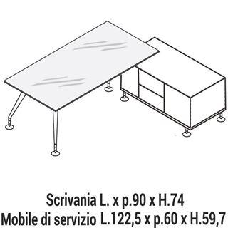Immagine di Enosi Evo: Composizione Scrivania in cristallo con Mobile di servizio L.122,5 Dx o Sx