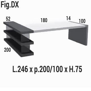 Immagine di Kyo scrivania con libreria DX/SX e gambe a ponte