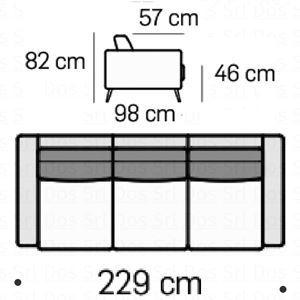 Divano 3 Posti L.229Cm
