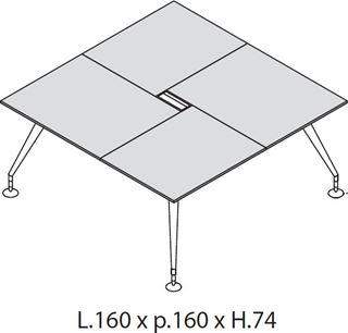 Enosi Evo: Tavolo riunione quadrato 160cm